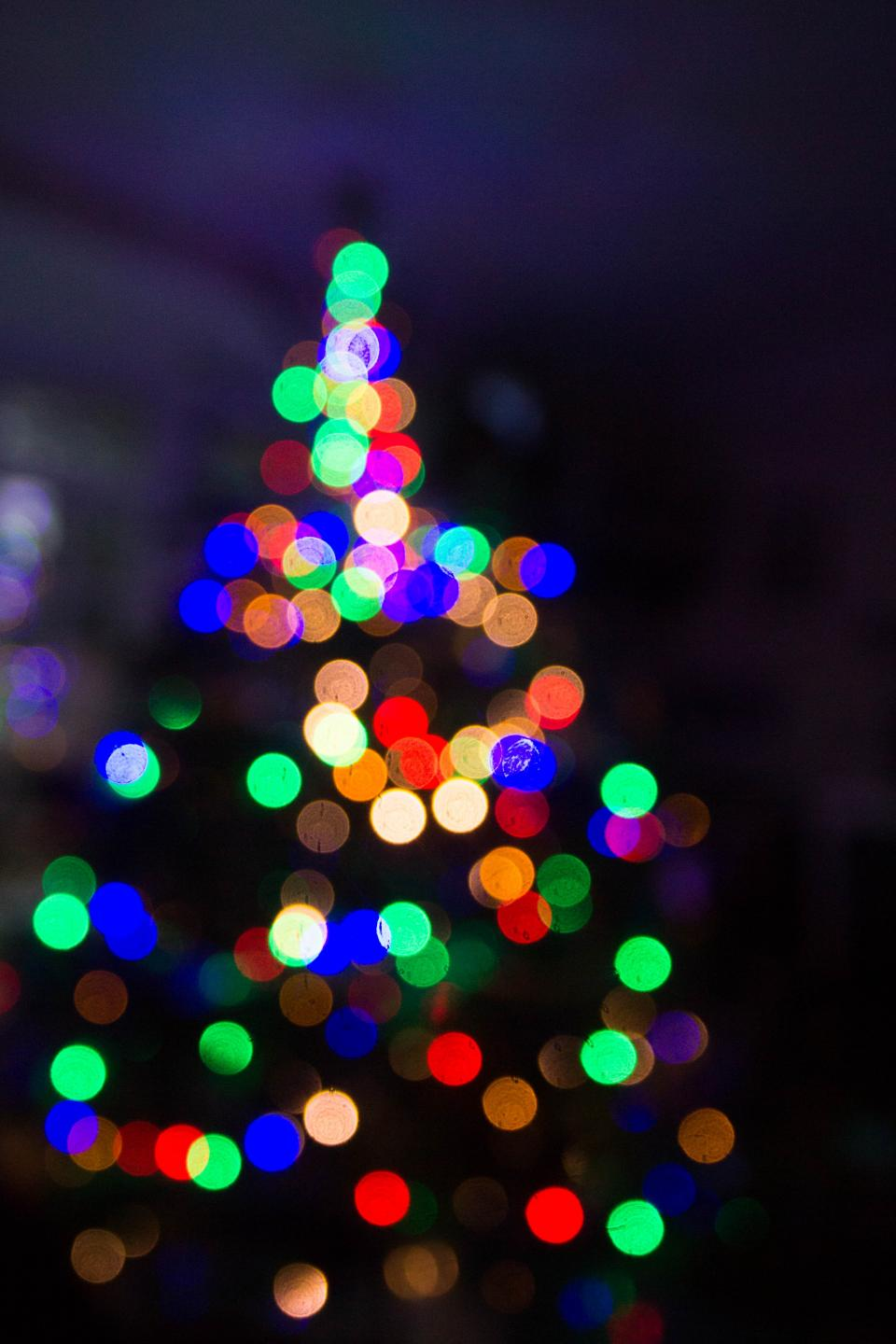 dark night christmas colorful lights lighting bokeh