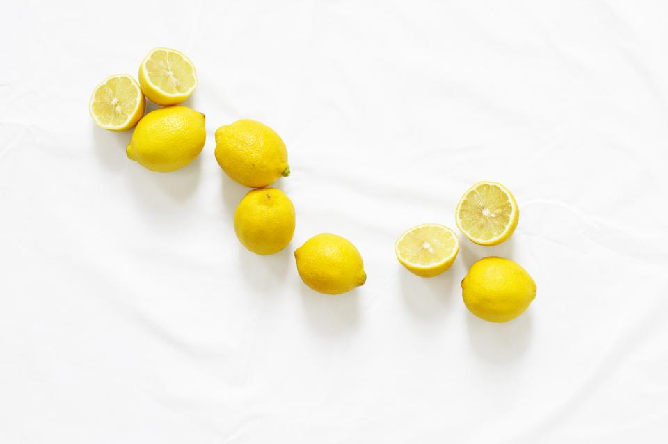 lemons fruits food yellow white