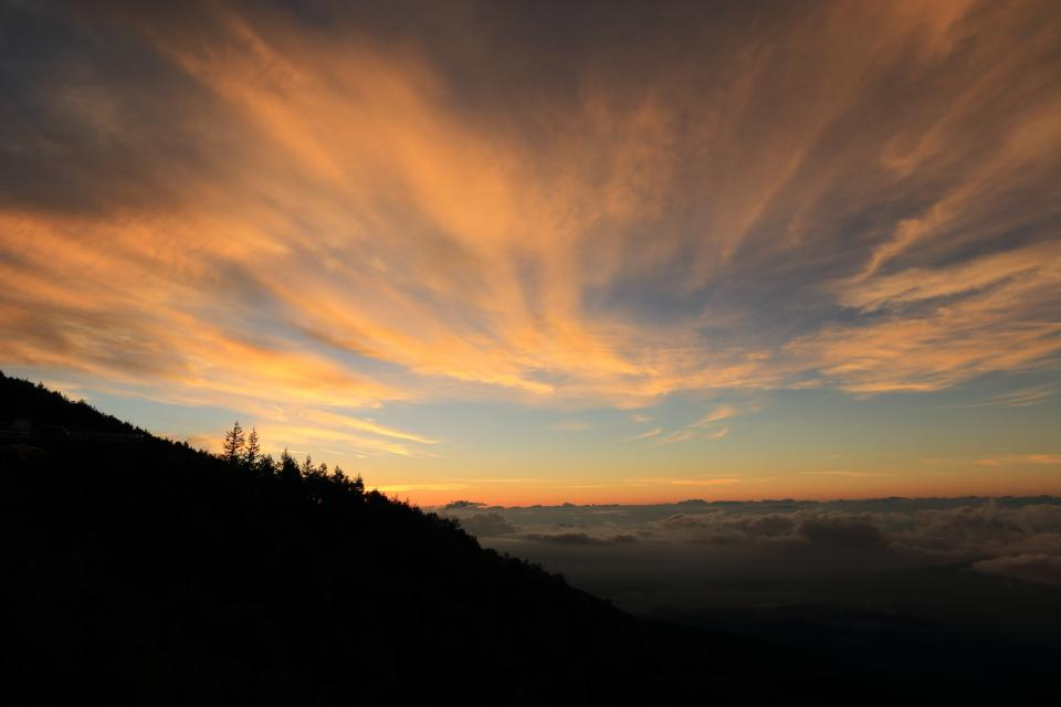 nature landscape trees mountain clouds sky sunset