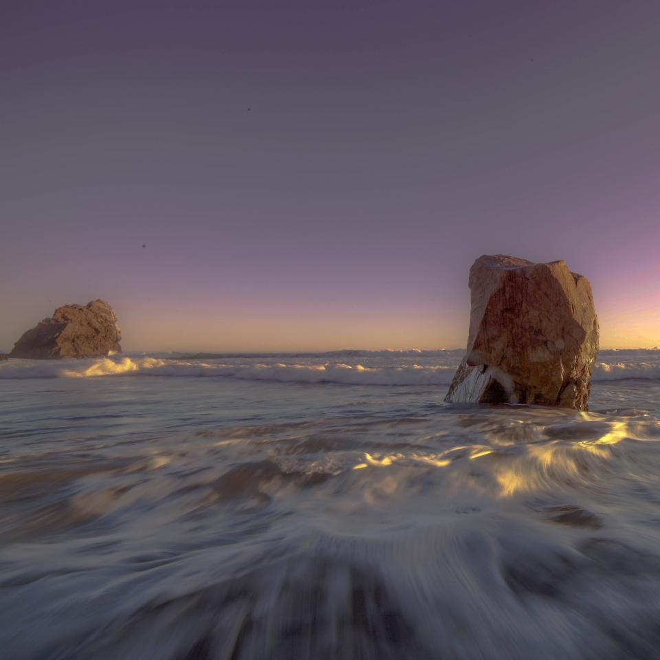 sea ocean water waves rocks nature sky sunlight sunset sunrise