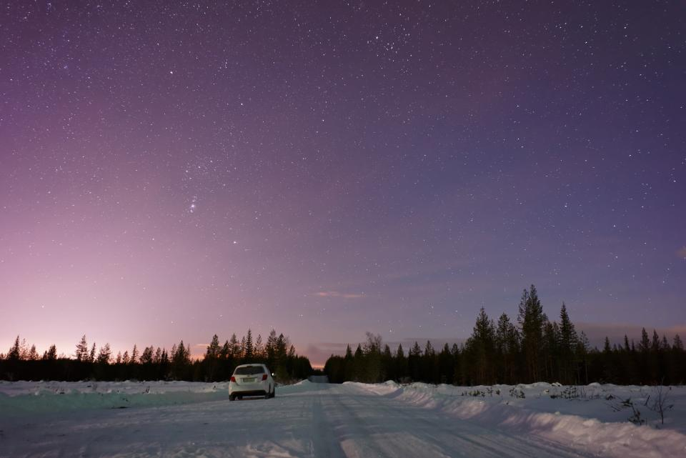 sky cloud trees plant nature outdoor winter snow forest car vehicle road trip travel