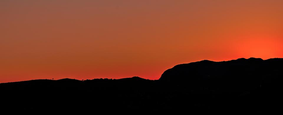 orange sky mountain dark silhouette landscape nature