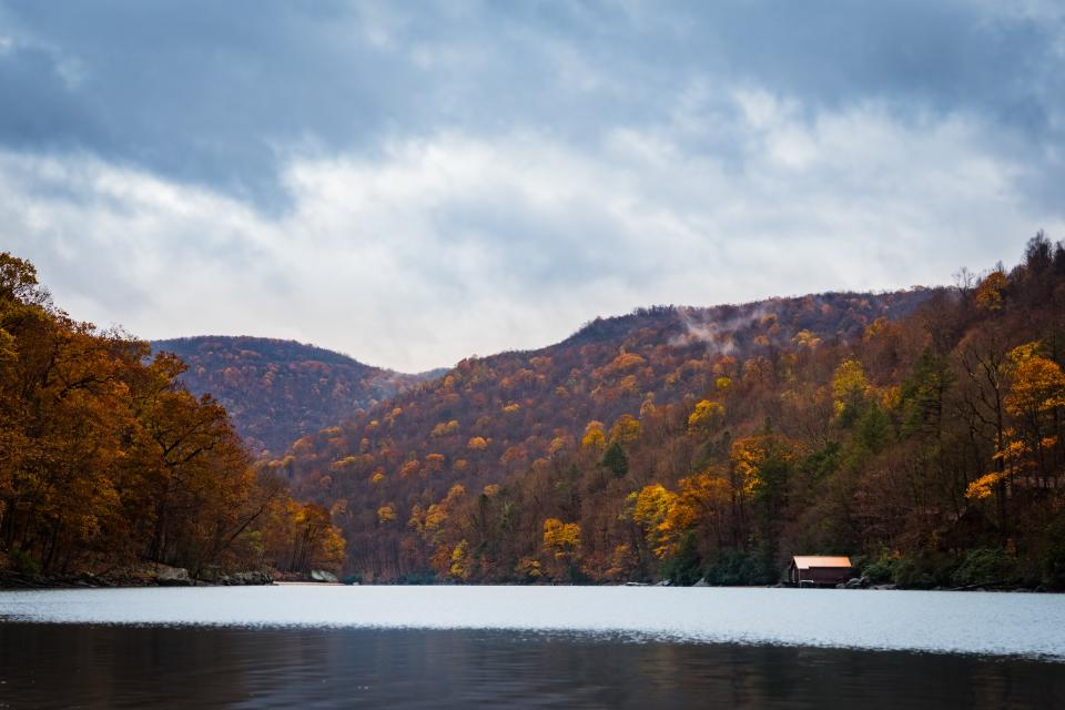 mountains trees forest lake water house autumn landscape view nature fog