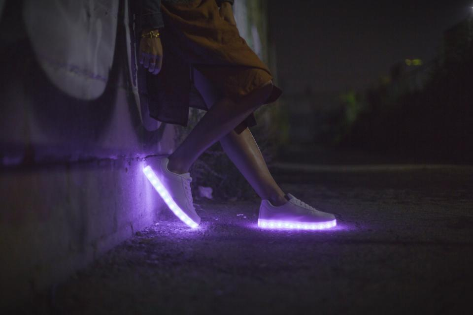 LED shoe footwear sneakers light dark night legs outdoors travel