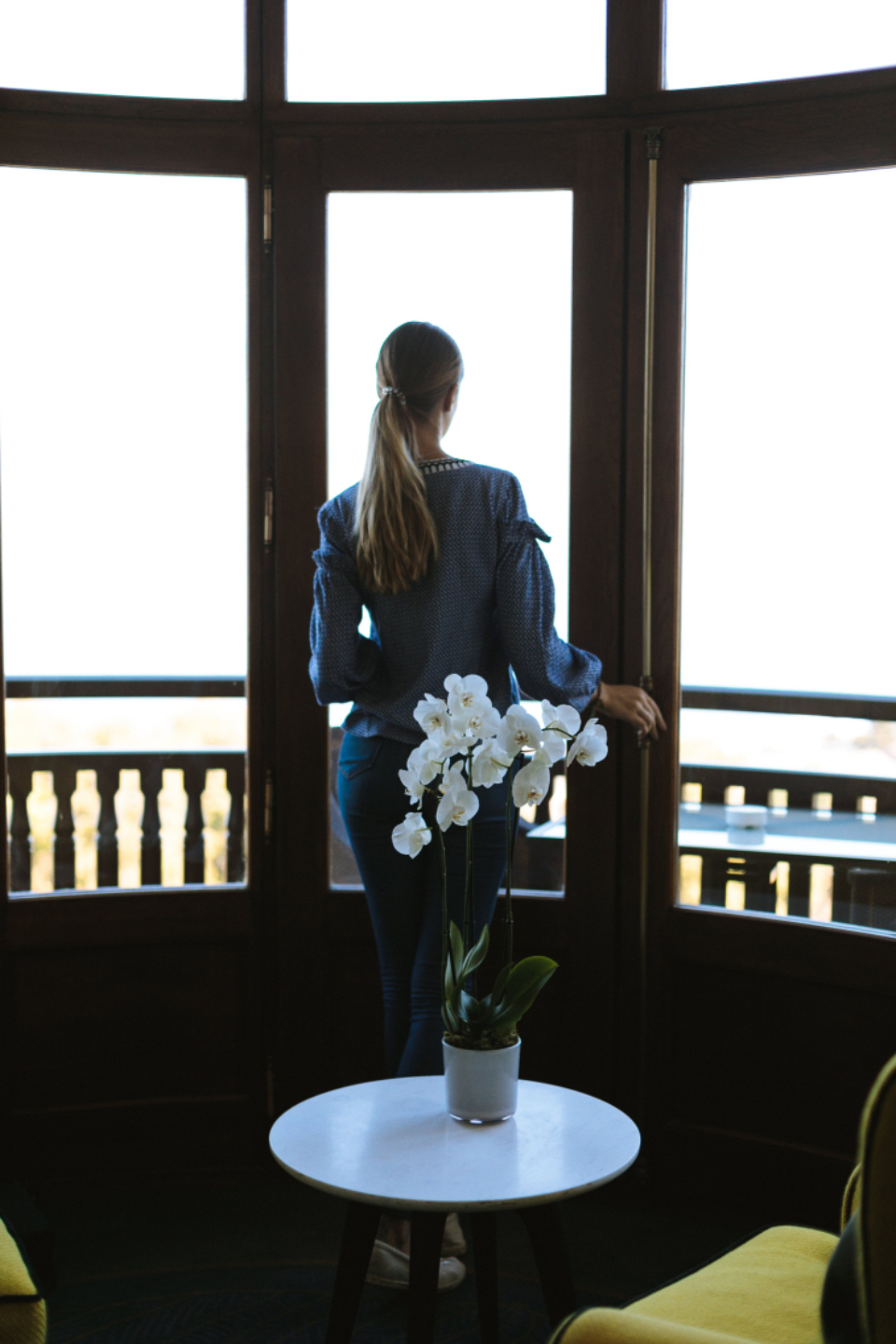 orchid woman window ponytail female plant chair view thoughtful scene horizon sight hotel trip