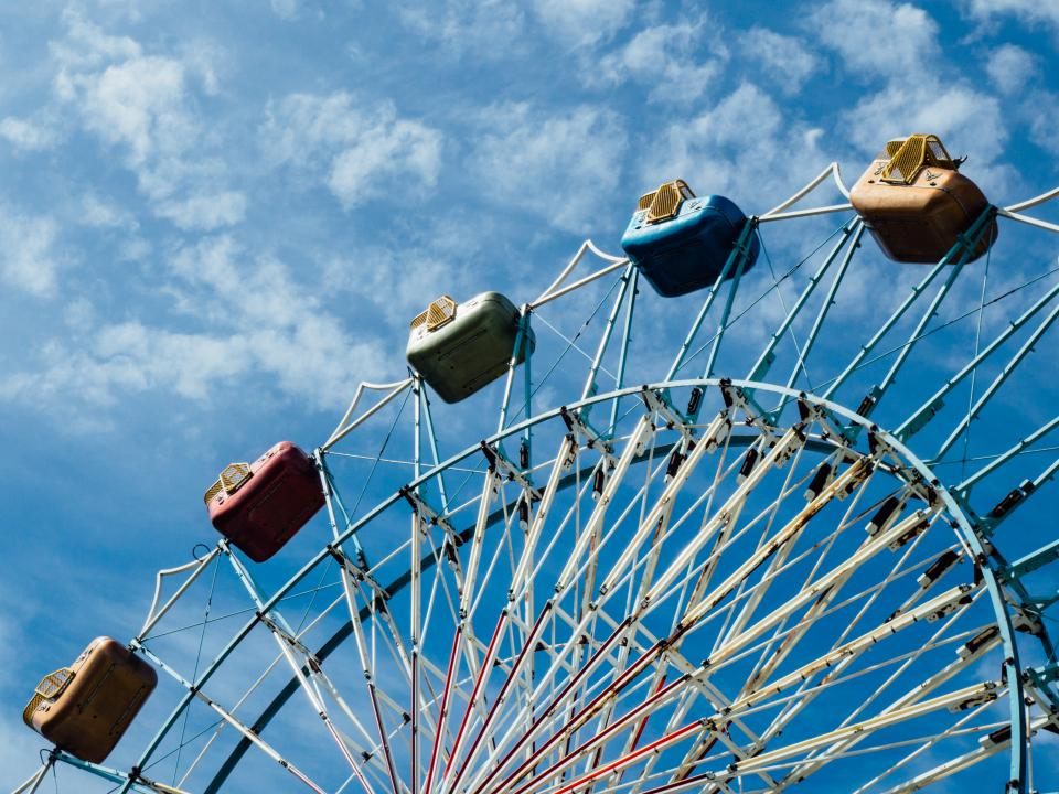 amusement park wheel ride adventure steel sky blue cloud