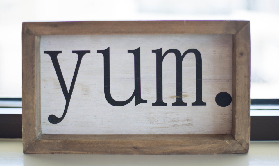decorative design words elements yum sign decor wood art wooden letter word lettering object
