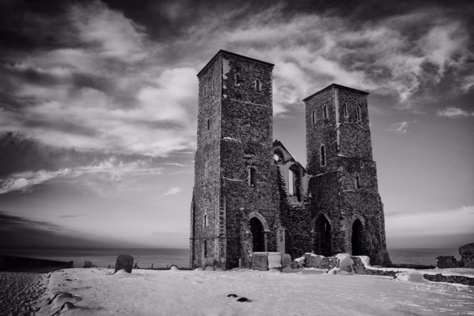 Reculver Towers Winter Clouds Roman Fort Hill church medieval castle