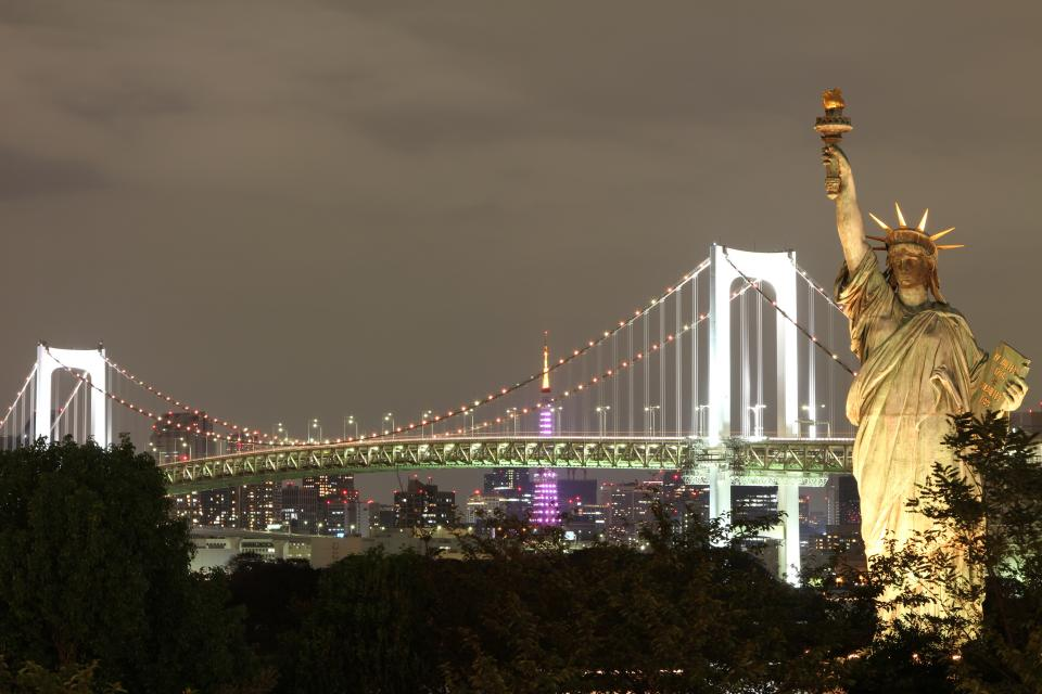 infrastructure bridge dark night light tower statue of liberty