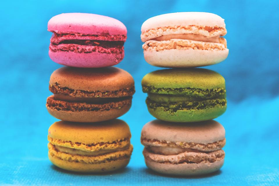 food gourmet macarons colors bite size pastry french styling still
