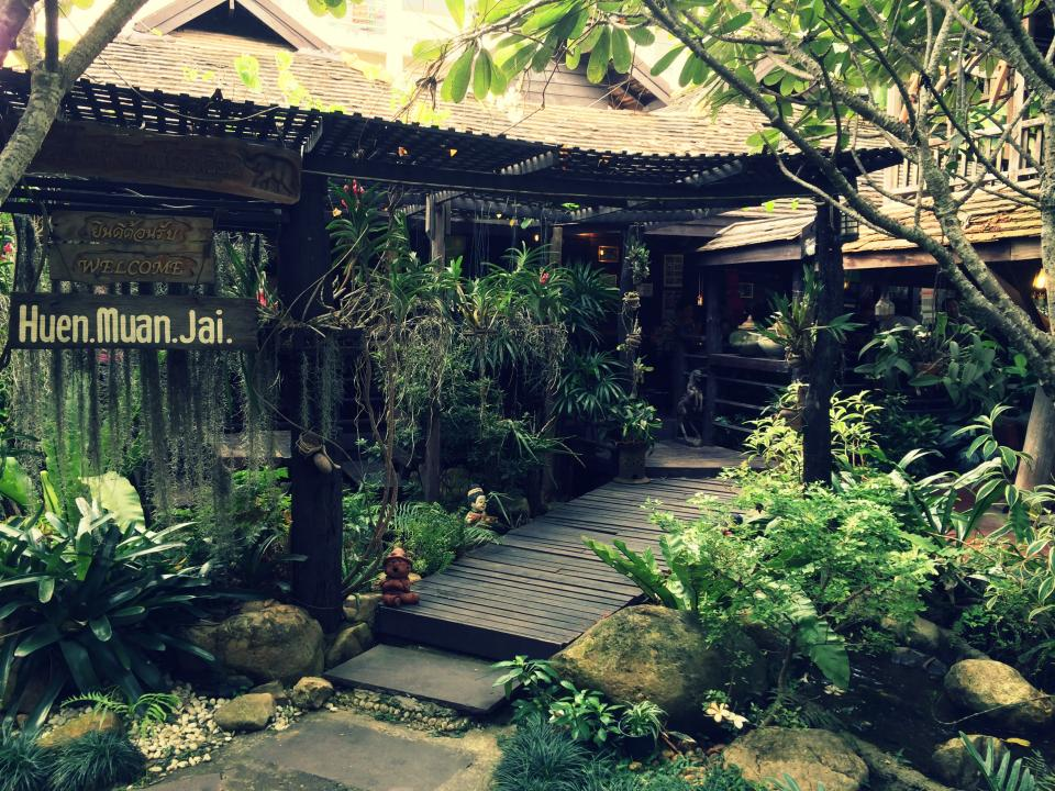 chiang mai thailand restaurant plants garden tropical leaves
