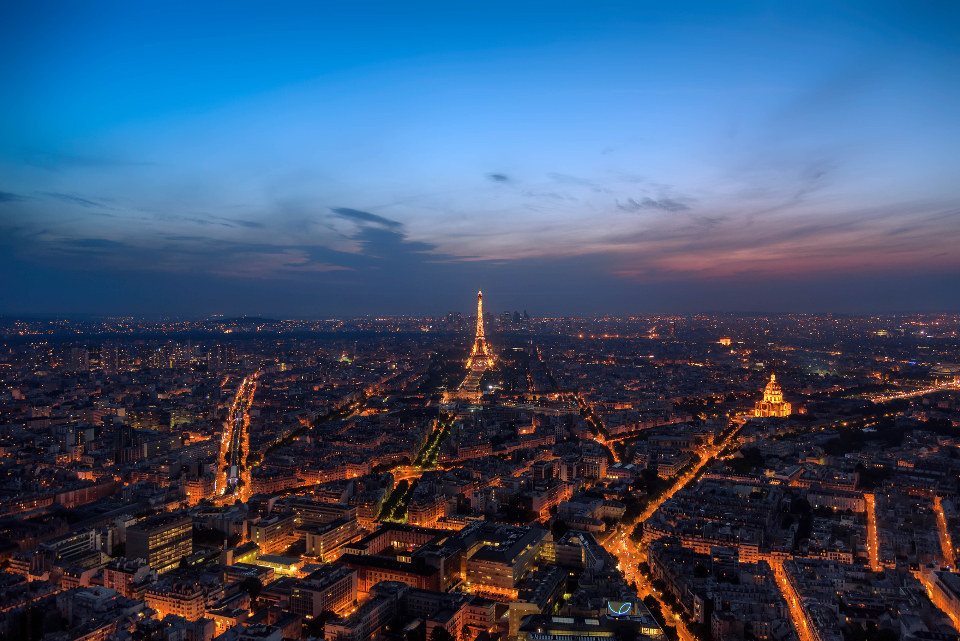 paris aerial night city french france lights eiffel tower landmark travel tourism scenic beautiful hd wallpaper sky clouds dusk busy