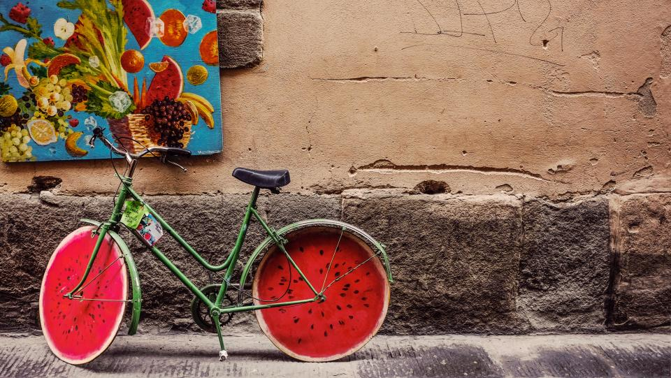 building wall bike bicycle fruits frame watermelon design art