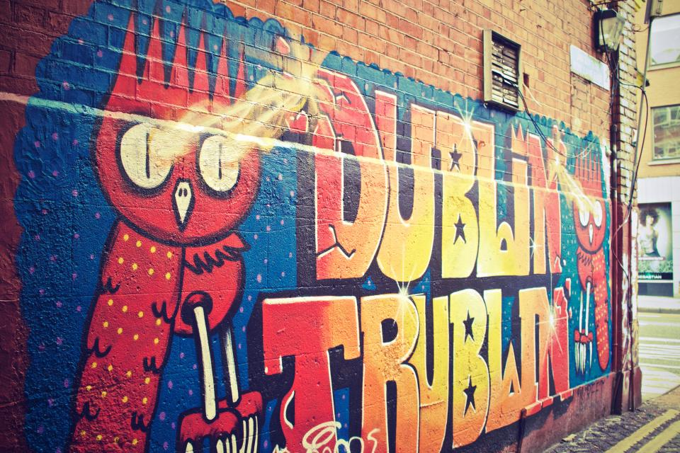 graffiti mural spray paint art wall colors colours city urban dublin
