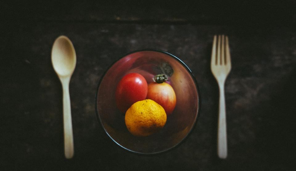 food fruit glass wooden spoon fork table