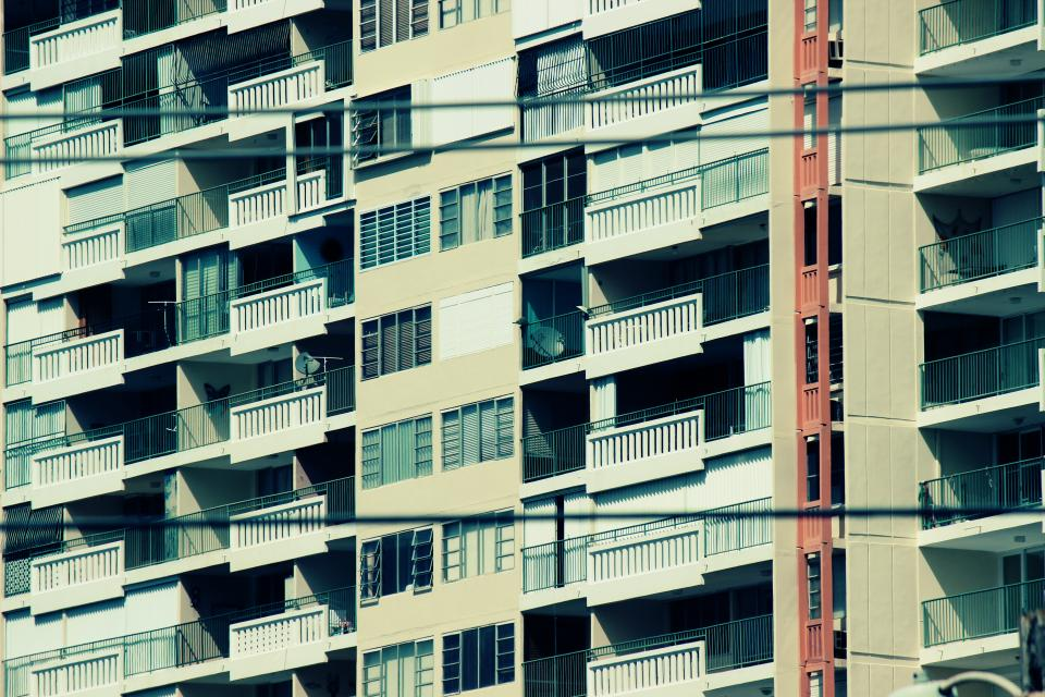 building architecture windows balconies apartment city urban