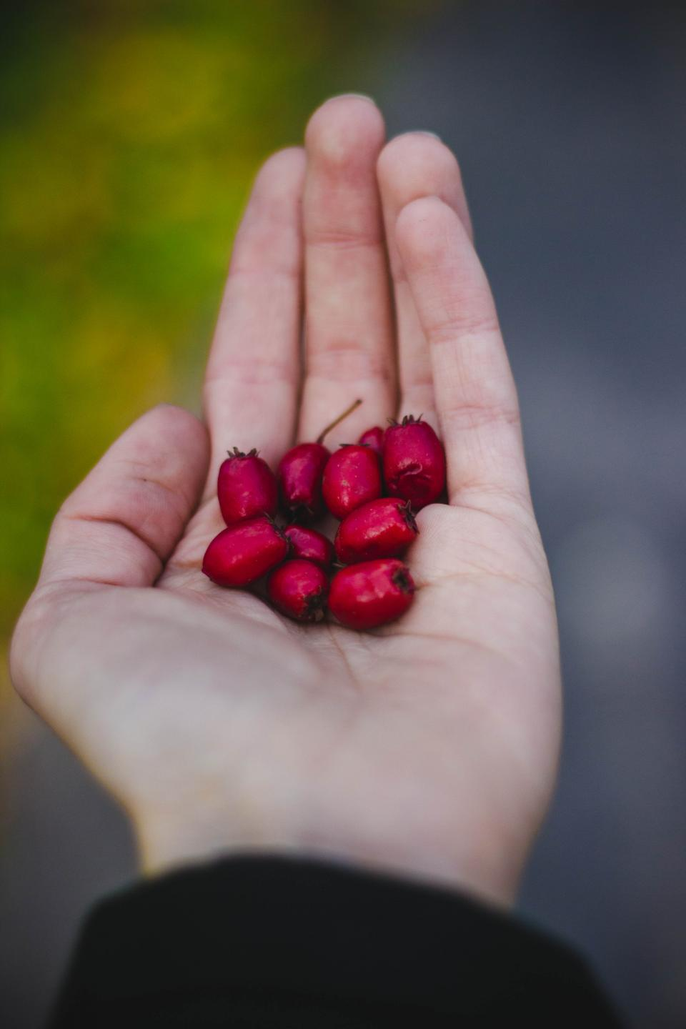 red fruit hand palm blur
