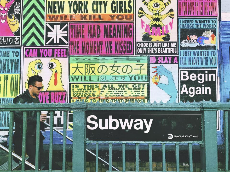 chamber street wall art people new york people man guy subway metro transportation