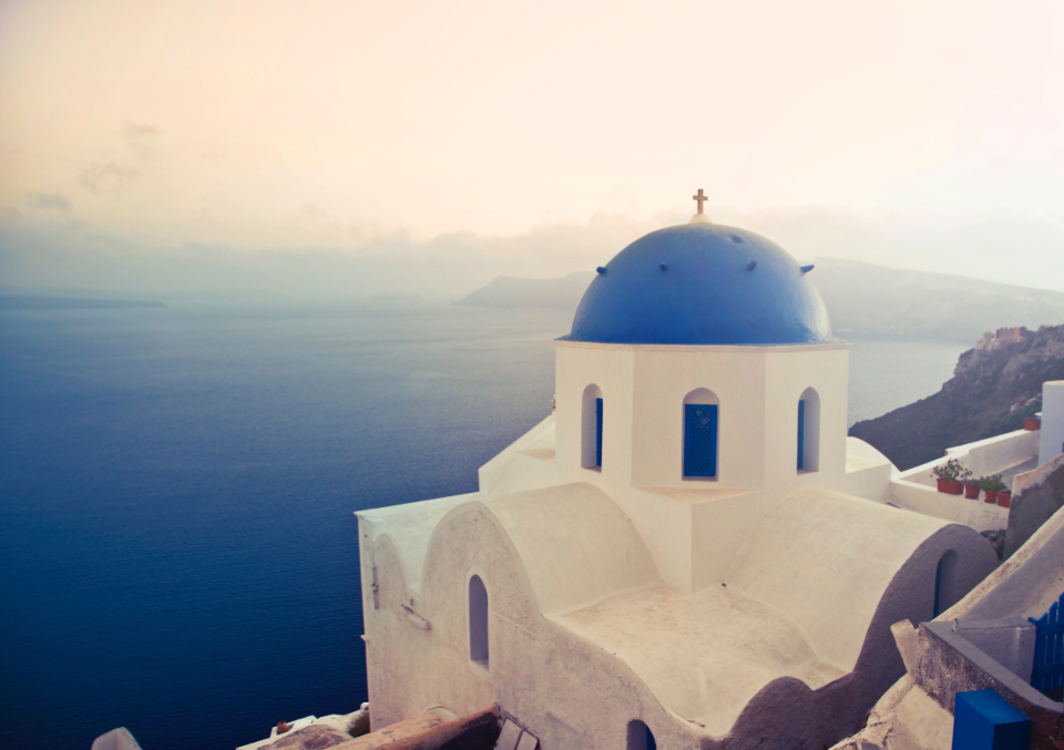 santorini white builing island greece travel vacation holiday blue sea water