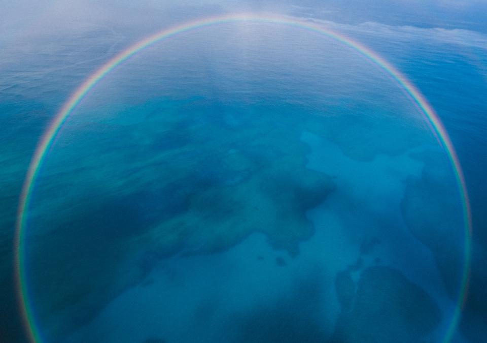 blue aerial view island rainbow nature