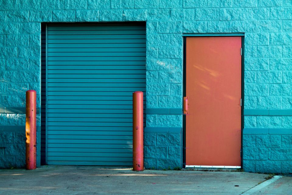 exterior building doors garage city urban colorful paint entrance