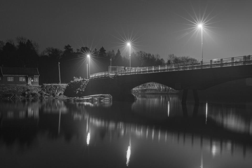 infrastructure bridge black and white monochrome reflection water ocean sea dark night lamp nature landscape