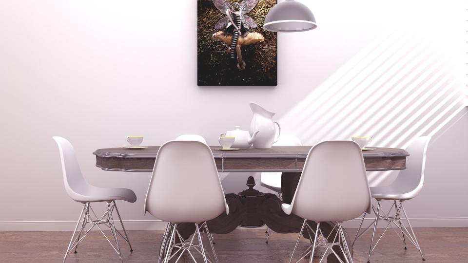 office work business workspace conference area meeting room table desk chairs teapot vase cups saucers painting ceiling lamp break venetian light patterns white