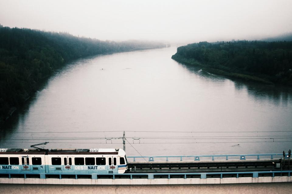 river lake water nature trees sky train railway destination line transportation travel trip