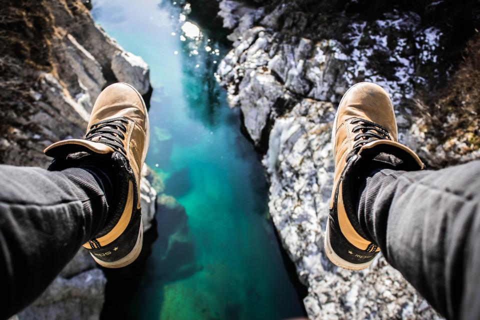 nature landscape people man sneakers shoes sole landscape travel adventure rocks water river lake