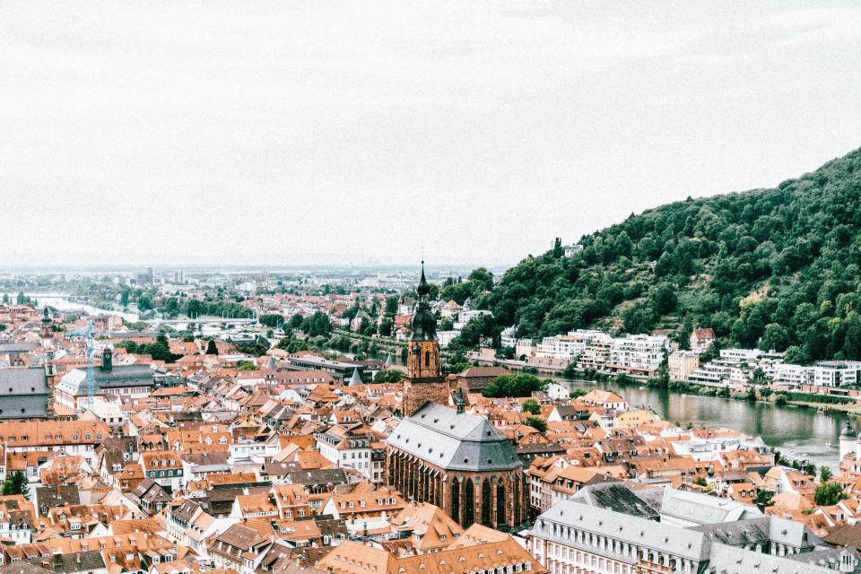 Heidelberg Germany city town rooftops buildings architecture river water trees sky clouds landscape