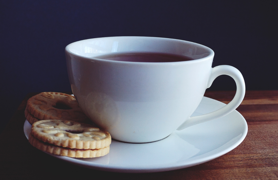 teacup tea coffee cookies drinks
