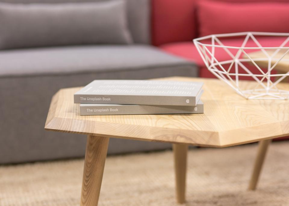 gray books unsplash table wood interior house desk