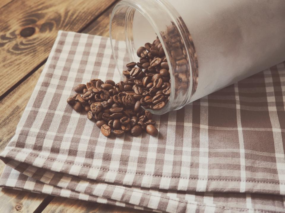 coffee beans table cloth wood