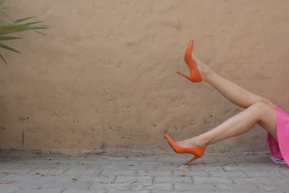 red pink shoes dress brick road wall pose model fashion style hidden