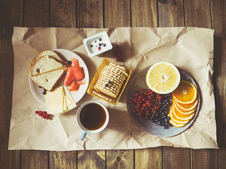 breakfast snack fruits bread coffee tea cracker food