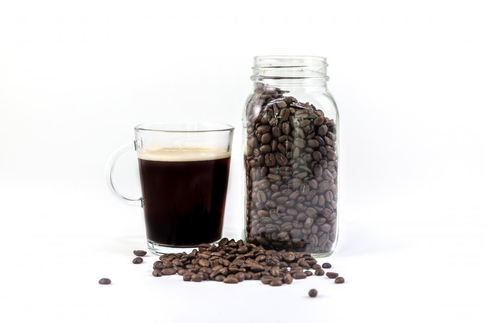 glass black brewed coffee hot drinks jar container beans seeds