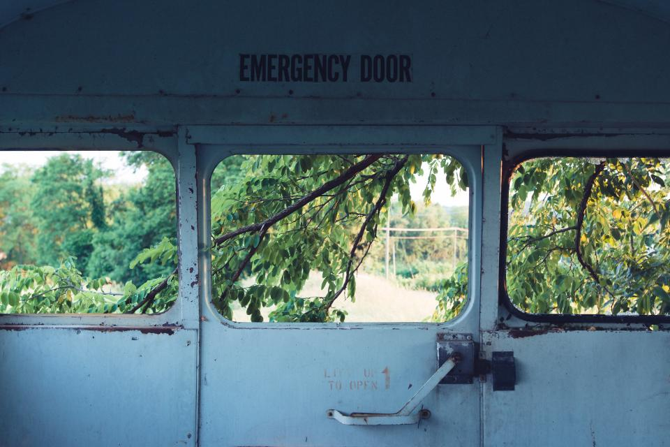 still items things emergency door steel locked vehicle warehouse view trees