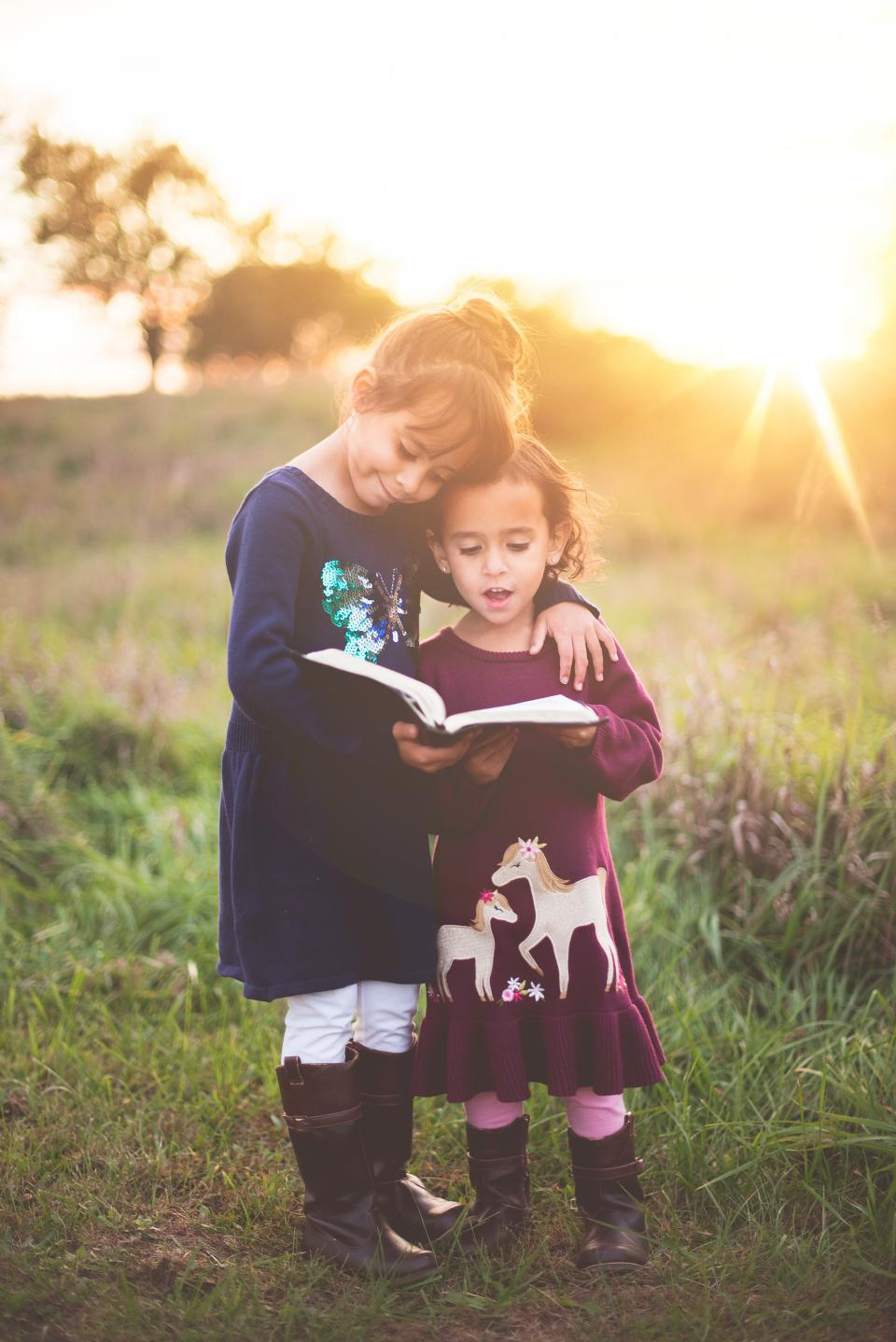 sunlight sunshine sunset sunrise sunny grass tree nature kids girls people children reading book bible sky
