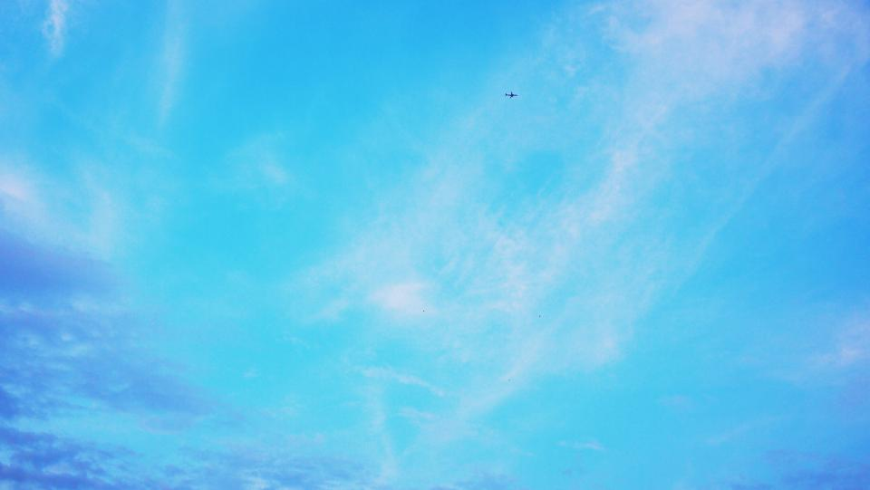 blue sky clouds sunshine summer airplane flying transportation travel trip