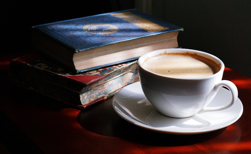 coffee cappuccino drink drinks books old books reading vintage coffee break sunlight