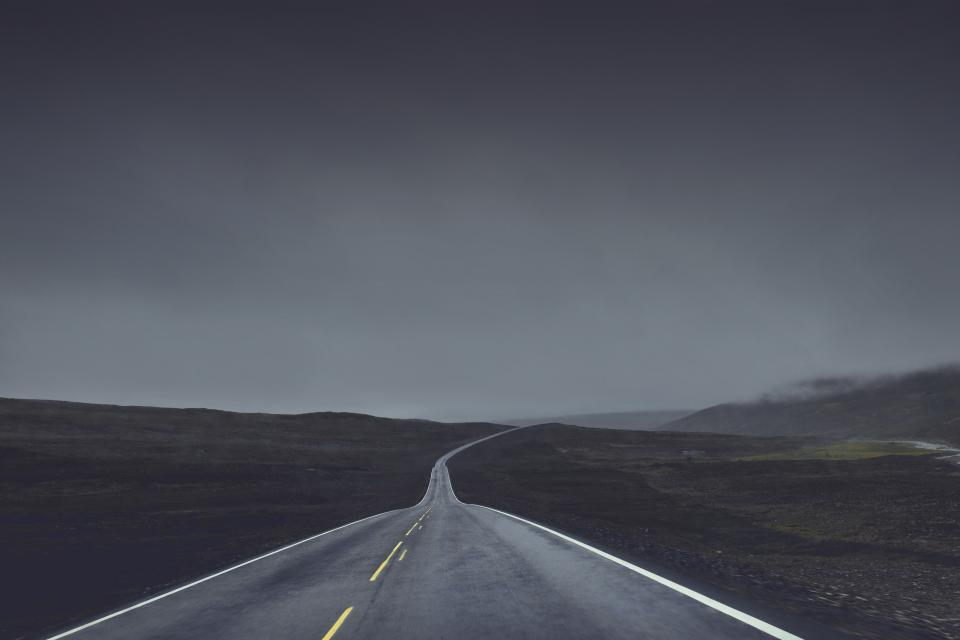 rural road highway countryside horizon fields grey dark storm landscape nature fog foggy