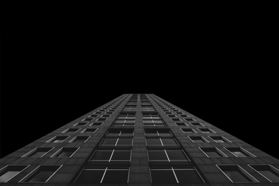 dark black and white architecture skyscraper tower building