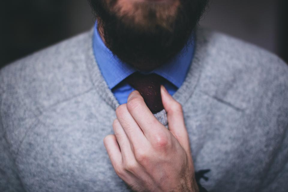 guy man tie sweater hands fashion beard people