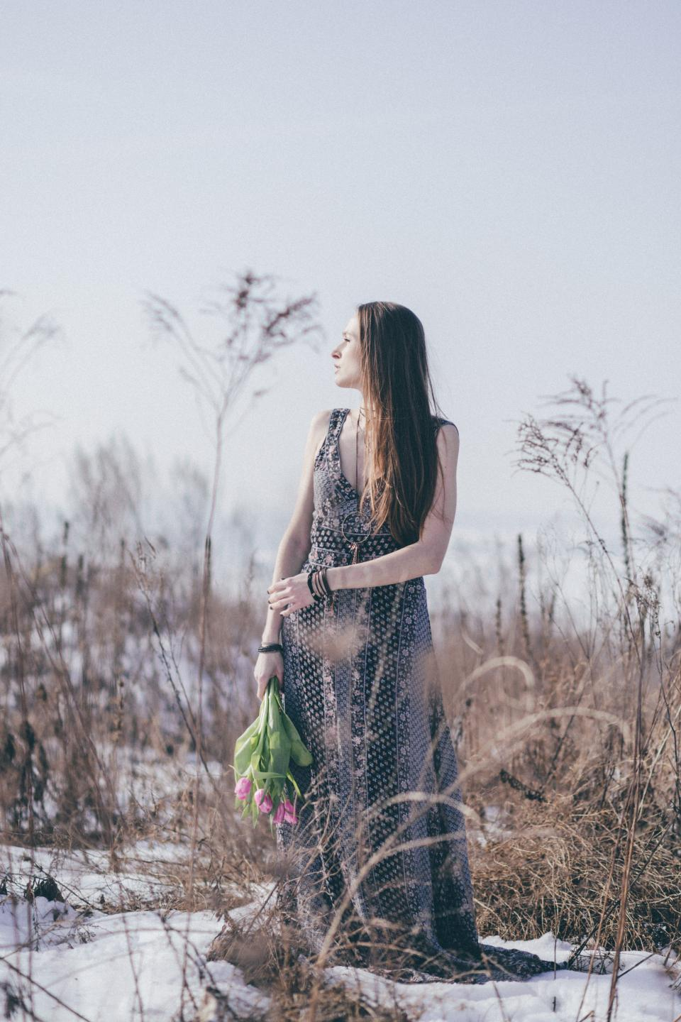 people woman fashion model dress nature grass plants