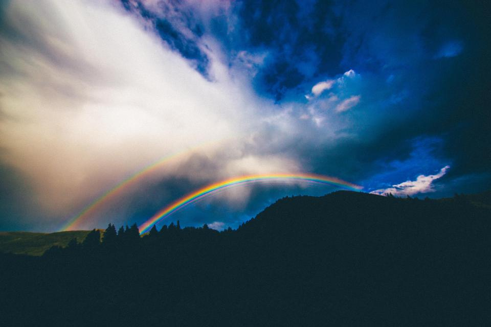 rainbow sky clouds storm landscape mountains nature silhouette