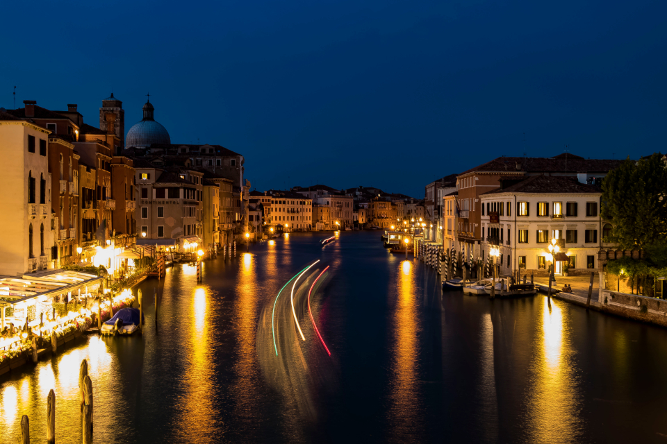 Venice Italy night amazing beautiful lights travel evening dark reflection city architecture river water boats buildings cityscape dock sky