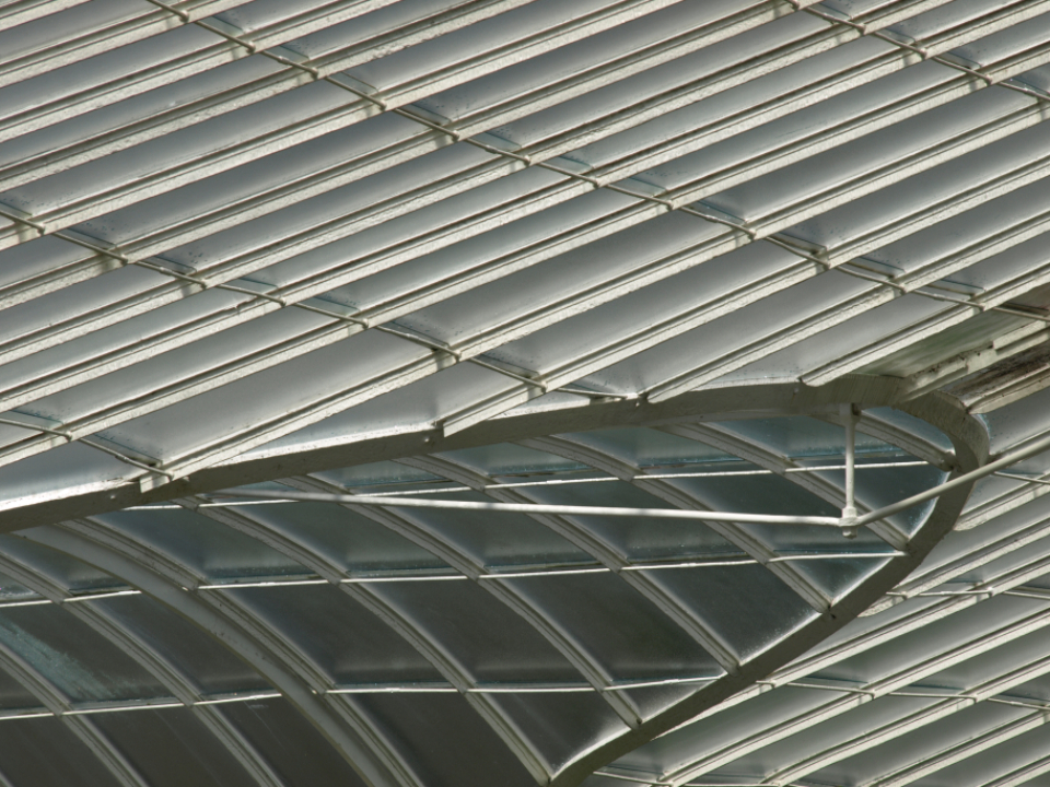abstract building futuristic curve modern perspective metal roof steel sky ceiling architecture greenhouse background