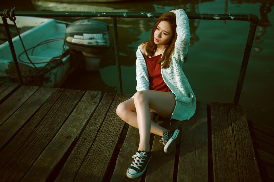 people woman girl fashion model lady female boat water outdoor