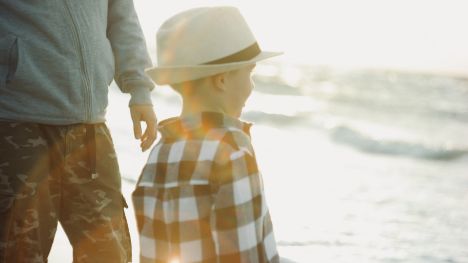 young child beach family father man toddler sea travel ocean water sand waves