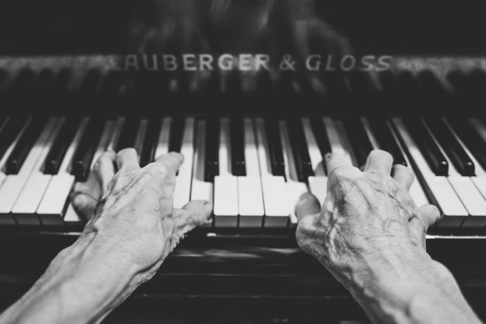 piano hands music instrument musician black and white